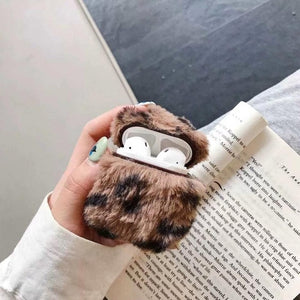 Grey Designer Leopard Skin Soft Fur Protective Case For AirPods 1 & 2 with Carabiner-Protective Cases for Airpods-TheWantsies.com