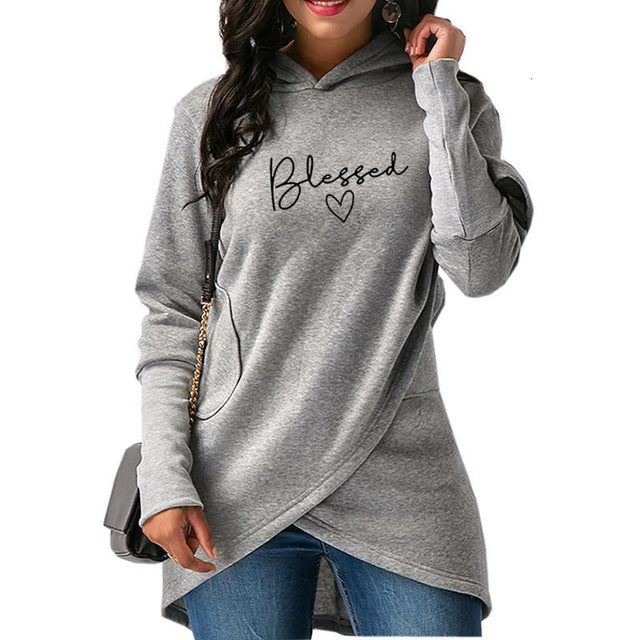 Grey Wantsies Women's Blessed Hoodie Sweatshirt-Hoodies & Sweatshirts-S-TheWantsies.com