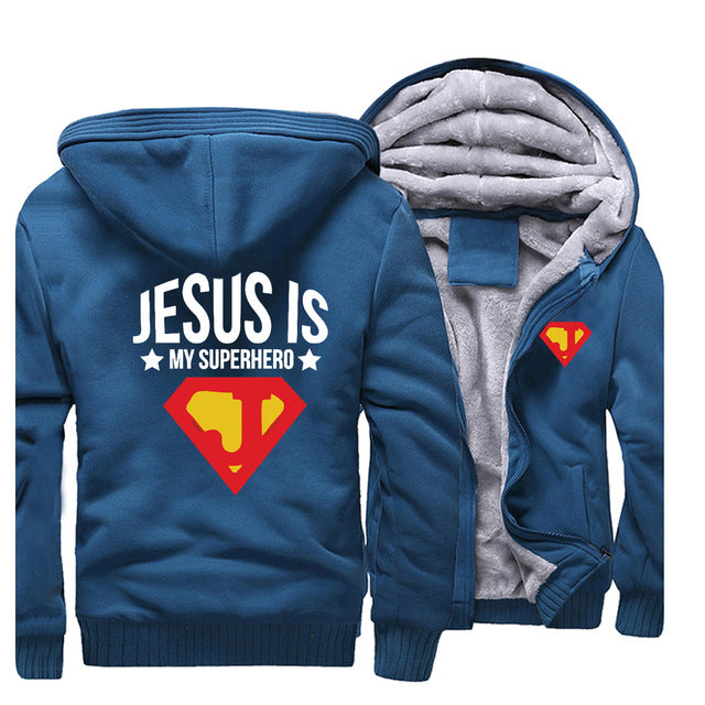 Lake Blue 5 Jesus is My Superhero Thick Fleece Hoodie Sweatshirt-Hoodies & Sweatshirts-M-TheWantsies.com