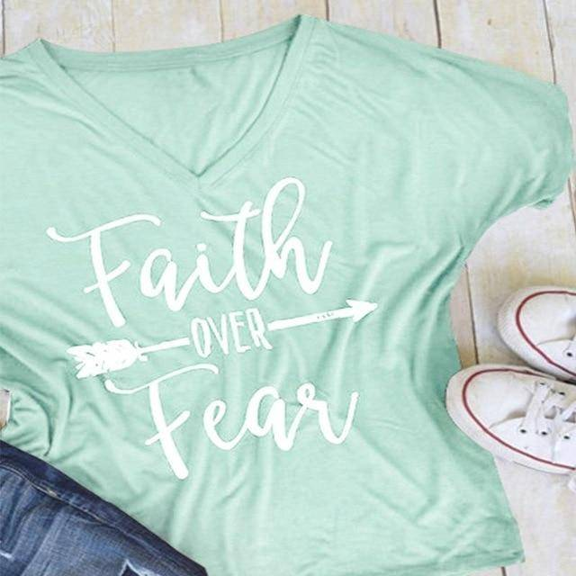 Light Green Women's Faith Over Fear V-Neck T-Shirt-clothing-S-TheWantsies.com