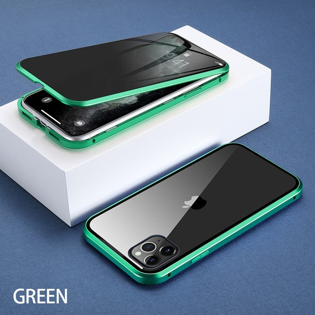 For iPhone 11 Wantsies Magnetic Privacy Glass Case for iPhone 11 Pro Max X XR XS 6 6s 7 8 Plus - Hot Kisscase-Fitted Cases-Light Green-TheWantsies.com