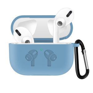 Light Blue Waterproof Silicone Shockproof Protective Case For AirPods Pro with Carabiner-Protective Cases for Airpods-TheWantsies.com