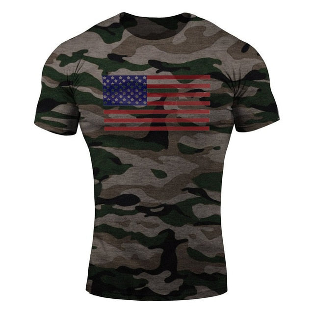 Multi Flag WantsieFit Mens American Flag Fitness Compression T-Shirt - Bodybuilding Athletic Fit-T-Shirts-M-TheWantsies.com