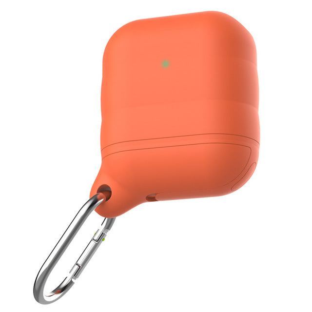 Orange Grey Waterproof Ear Phone Silicone Shockproof Protective Case For AirPods with Carabiner-Protective Cases for Airpods-TheWantsies.com