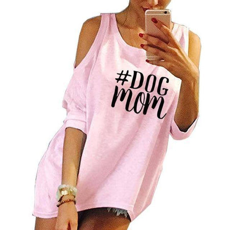 Yellow Women's Dog Mom T-Shirt with Peek-A-Boo Shoulder Cutout Sleeves-clothing-S-TheWantsies.com