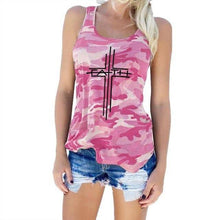 Pink Women's Cross Faith Tank Top Camouflage Pattern Sleeveless T-Shirt-T-shirt-S-TheWantsies.com