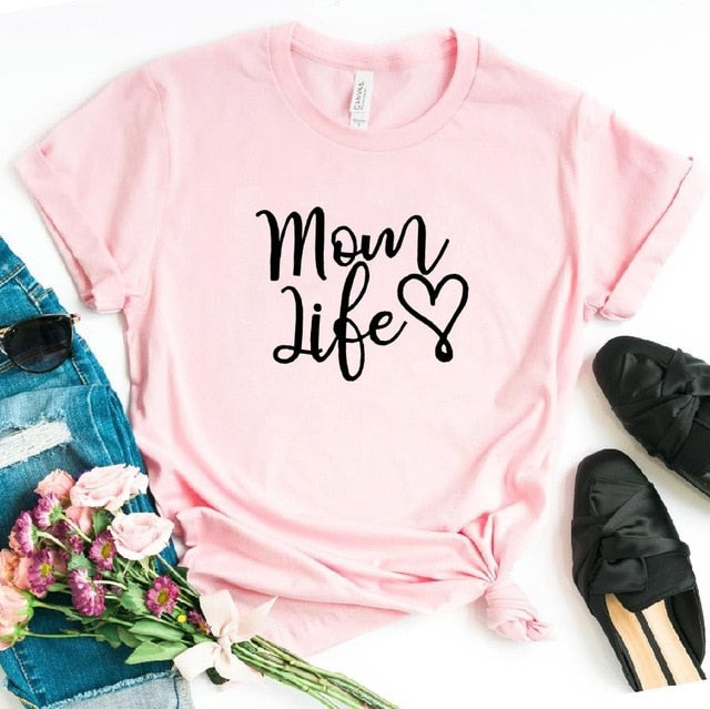 Pink Proud Mom Life with Heart T-Shirt-T-Shirts-XXS-TheWantsies.com