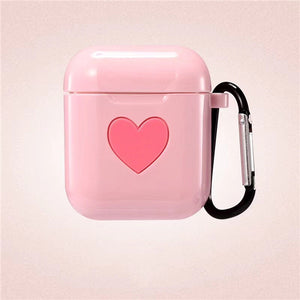 Pink Sweet Heart Silicone Protective Shockproof Case For AirPods 1 & 2 with Carabiner-Protective Cases for Airpods-TheWantsies.com