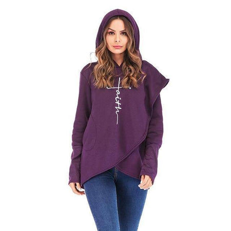 Purple Women's Faith Hoodie Wrap Cape-Hoodies & Sweatshirts-S-TheWantsies.com