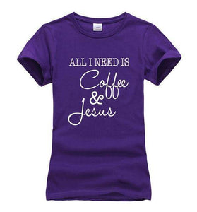 Purple Women's All I Need Is Coffee and Jesus T-shirt-T-Shirts-S-TheWantsies.com