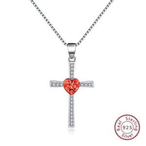 Red CZ 925 Sterling Silver Faith Heart Cross Crystal Jewelry Pendant Necklace-Pendants-TheWantsies.com