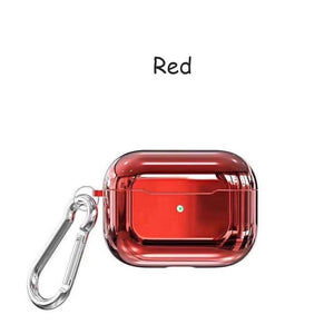 Red With Buckle Designer Luxury Shiny Metal Electroplated Protective Case For AirPods Pro-Protective Cases for Airpods-TheWantsies.com