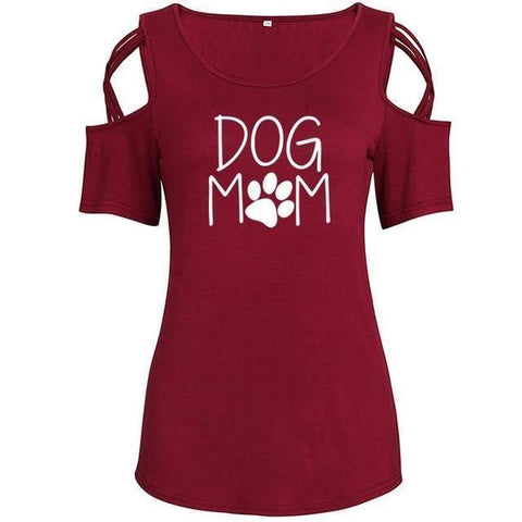 Red Women's Dog Mom with Paw Print T-Shirt with Cut-Out Shoulders-T-Shirts-S-TheWantsies.com