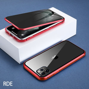 For iPhone 11 Wantsies Magnetic Privacy Glass Case for iPhone 11 Pro Max X XR XS 6 6s 7 8 Plus - Hot Kisscase-Fitted Cases-Red-TheWantsies.com