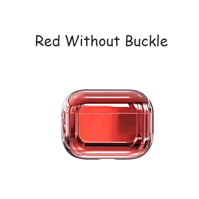 Red Designer Luxury Shiny Metal Electroplated Protective Case For AirPods Pro-Protective Cases for Airpods-TheWantsies.com