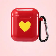 Red Sweet Heart Silicone Protective Shockproof Case For AirPods 1 & 2 with Carabiner-Protective Cases for Airpods-TheWantsies.com