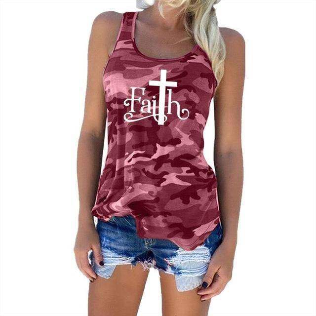 "Red Women's Faith with Cross ""T"" Tank Top Camouflage Pattern Sleeveless T-Shirt-T-shirts-S-TheWantsies.com"