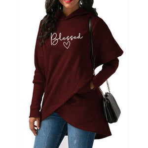Red Wantsies Women's Blessed Hoodie Sweatshirt-Hoodies & Sweatshirts-S-TheWantsies.com