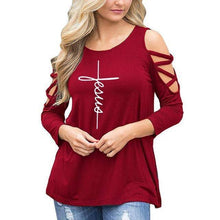 Red Women's Jesus T-Shirt with 3/4 Length Sleeves and Cut-Out Shoulders-T-Shirts-S-TheWantsies.com
