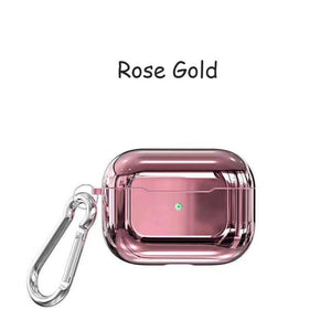 Rose Gold With Buckle Designer Luxury Shiny Metal Electroplated Protective Case For AirPods Pro-Protective Cases for Airpods-TheWantsies.com