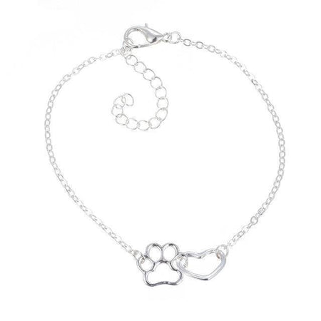 Cat Lover Dog Lover Pet Paw Footprint With Heart Necklace-Jewelry-TheWantsies.com