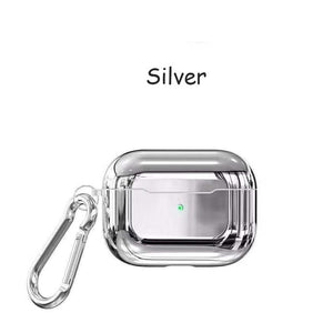 Silver With Buckle Designer Luxury Shiny Metal Electroplated Protective Case For AirPods Pro-Protective Cases for Airpods-TheWantsies.com