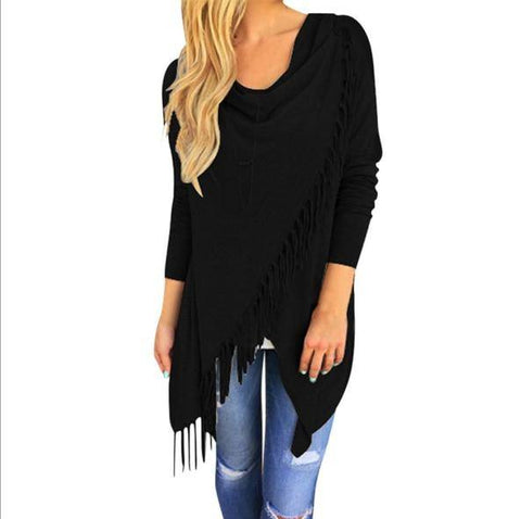 T0640Black Wantsies Tassel Knit Wrap-Clothing-S-TheWantsies.com