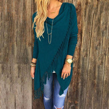 T0640Blue Wantsies Tassel Knit Wrap-Clothing-S-TheWantsies.com