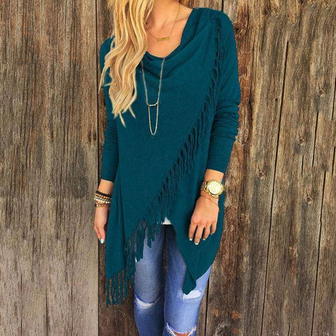 Image of T0640Blue Wantsies Tassel Knit Wrap-Clothing-S-TheWantsies.com