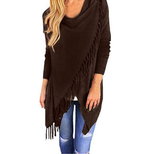 T0640Coffee Wantsies Tassel Knit Wrap-Clothing-S-TheWantsies.com