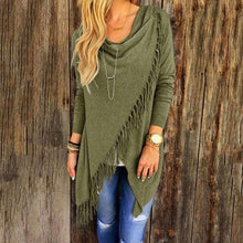 T0640Green Wantsies Tassel Knit Wrap-Clothing-S-TheWantsies.com