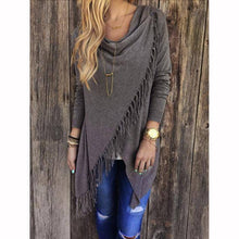 T0640Grey Wantsies Tassel Knit Wrap-Clothing-S-TheWantsies.com