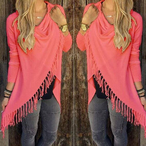 T0640Red Wantsies Tassel Knit Wrap-Clothing-S-TheWantsies.com