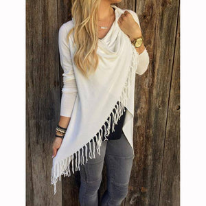 T0640White Wantsies Tassel Knit Wrap-Clothing-S-TheWantsies.com