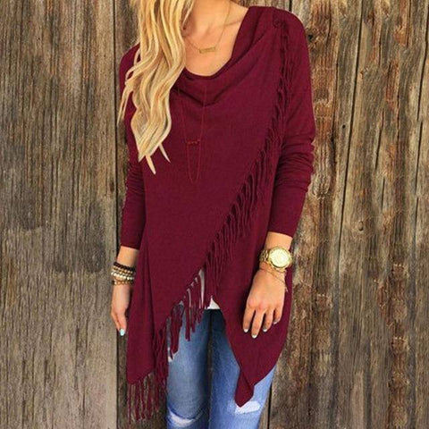T0640WineRed Wantsies Tassel Knit Wrap-Clothing-S-TheWantsies.com