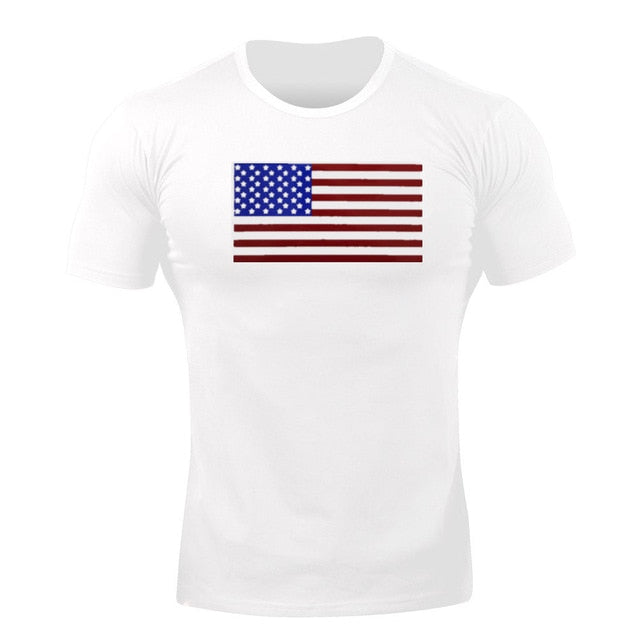 White Flag WantsieFit Mens American Flag Fitness Compression T-Shirt - Bodybuilding Athletic Fit-T-Shirts-M-TheWantsies.com