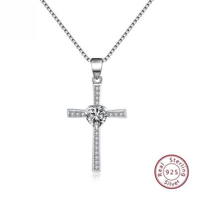 White CZ 925 Sterling Silver Faith Heart Cross Crystal Jewelry Pendant Necklace-Pendants-TheWantsies.com