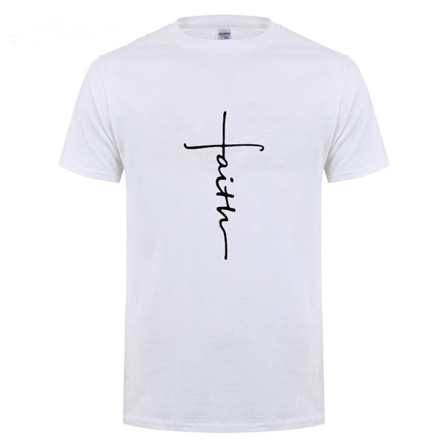White Men's Faith Cross T-Shirt-T-Shirts-XS-TheWantsies.com