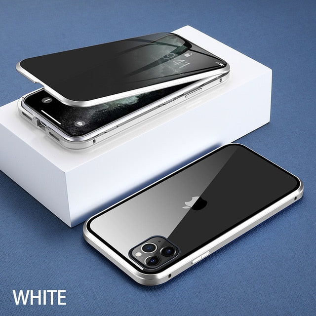 For iPhone 11 Wantsies Magnetic Privacy Glass Case for iPhone 11 Pro Max X XR XS 6 6s 7 8 Plus - Hot Kisscase-Fitted Cases-White-TheWantsies.com