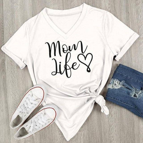 Image of White Women's Mom Life with Heart V-Neck T-Shirt-T-shirts-S-TheWantsies.com