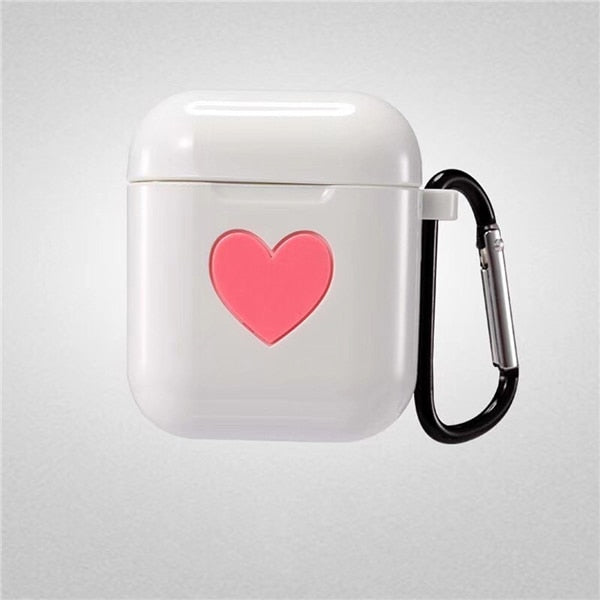 White Sweet Heart Silicone Protective Shockproof Case For AirPods 1 & 2 with Carabiner-Protective Cases for Airpods-TheWantsies.com