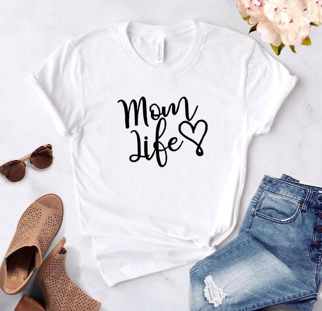 White Proud Mom Life with Heart T-Shirt-T-Shirts-XXS-TheWantsies.com