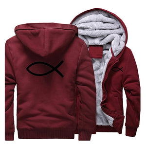 Wine Red 5 Christian Jesus Fish Symbol Ichthys Thick Fleece Faith Hoodie Sweatshirt-Hoodies & Sweatshirts-M-TheWantsies.com