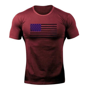 Wine Red Flag WantsieFit Mens American Flag Fitness Compression T-Shirt - Bodybuilding Athletic Fit-T-Shirts-M-TheWantsies.com
