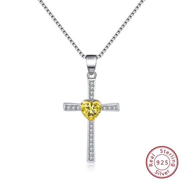 Yellow CZ 925 Sterling Silver Faith Heart Cross Crystal Jewelry Pendant Necklace-Pendants-TheWantsies.com