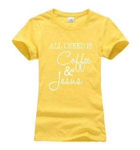Yellow Women's All I Need Is Coffee and Jesus T-shirt-T-Shirts-S-TheWantsies.com