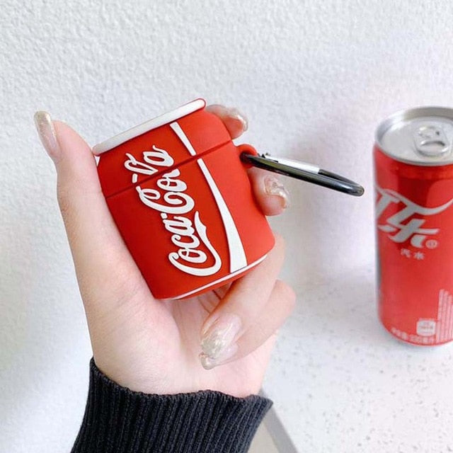 Cola Cola Pop Soda Can Drinks Shockproof Protective Case For AirPods 1 & 2 with Carabiner-Protective Cases for Airpods-TheWantsies.com