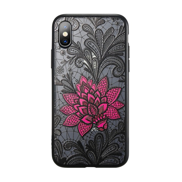 For iPhone XS Max Wantsies Vintage Lace Flower Case For iPhone XR 5S 5 Se 6 7 8 Plus 11 Pro 11 Pro max XS Max XR X - Hot Kisscase-Fitted Cases-big flower-TheWantsies.com