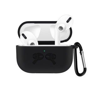 Black 2 Waterproof Silicone Shockproof Protective Case For AirPods Pro with Carabiner-Protective Cases for Airpods-TheWantsies.com
