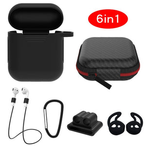 black 6 in 1 Airpods Set Protective Silicone Case, Watch Strap, Earhooks, Carabiner, Anti-Lost Strap & Bag-Protective Cases for Airpods-TheWantsies.com